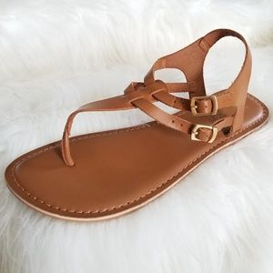 💖 Topshop Tan Brown Theng Ankle Strap Sandals 7.5